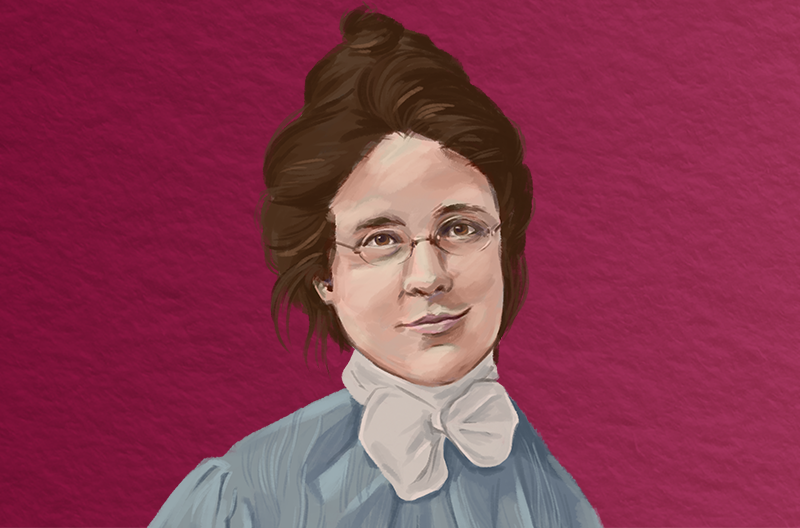 old timey portrait of a woman with glasses, brown hair up in a bun, a slight smile, and a high-necked dress with a white bow against a reddish-purple background that has a papery texture