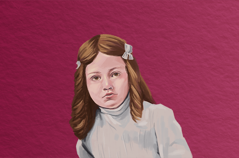 painted portrait of a young white girl with brown hair iand ribbons in a high-collared white dress against a wine-colored paper-textured background