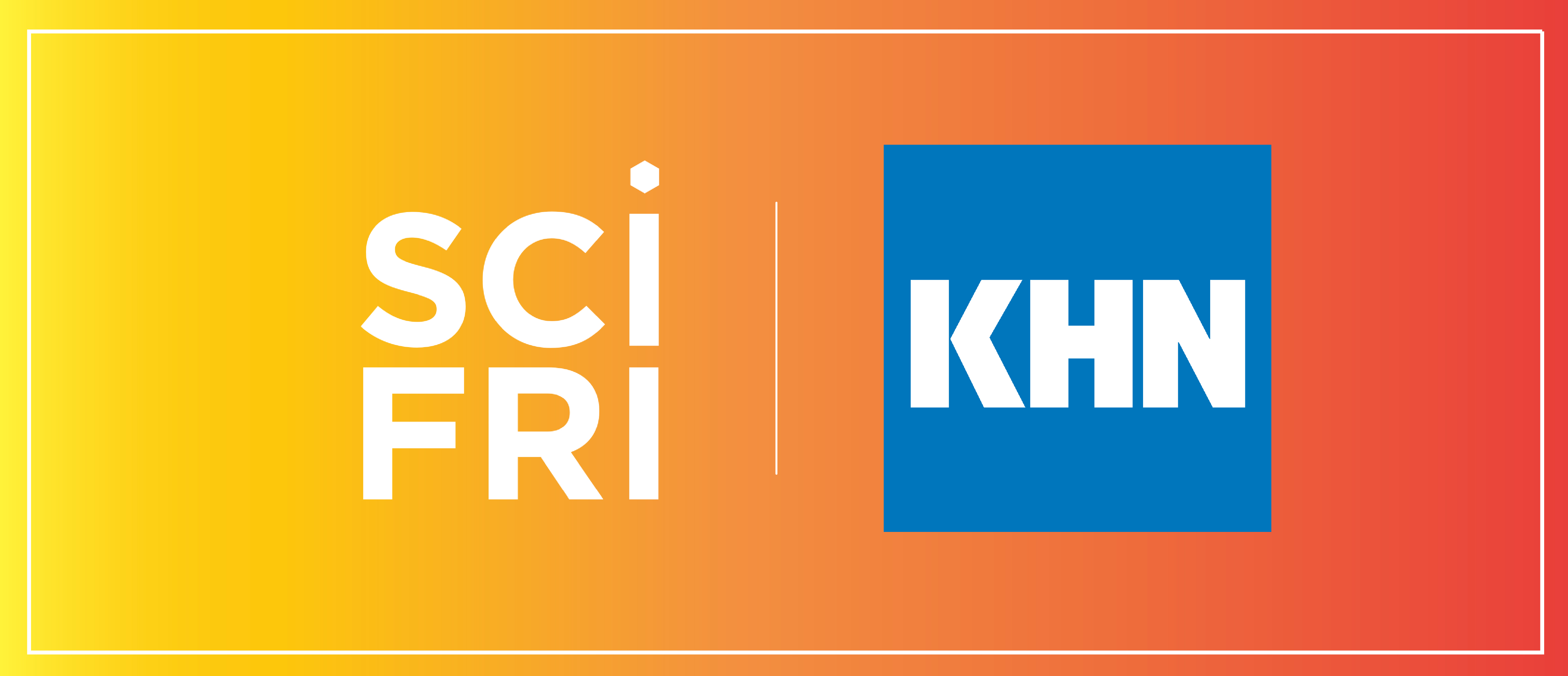 """an orange button that has two logos, one in white that reads """"scifri"""" and a blue square with white font that reads """"khn"""""""