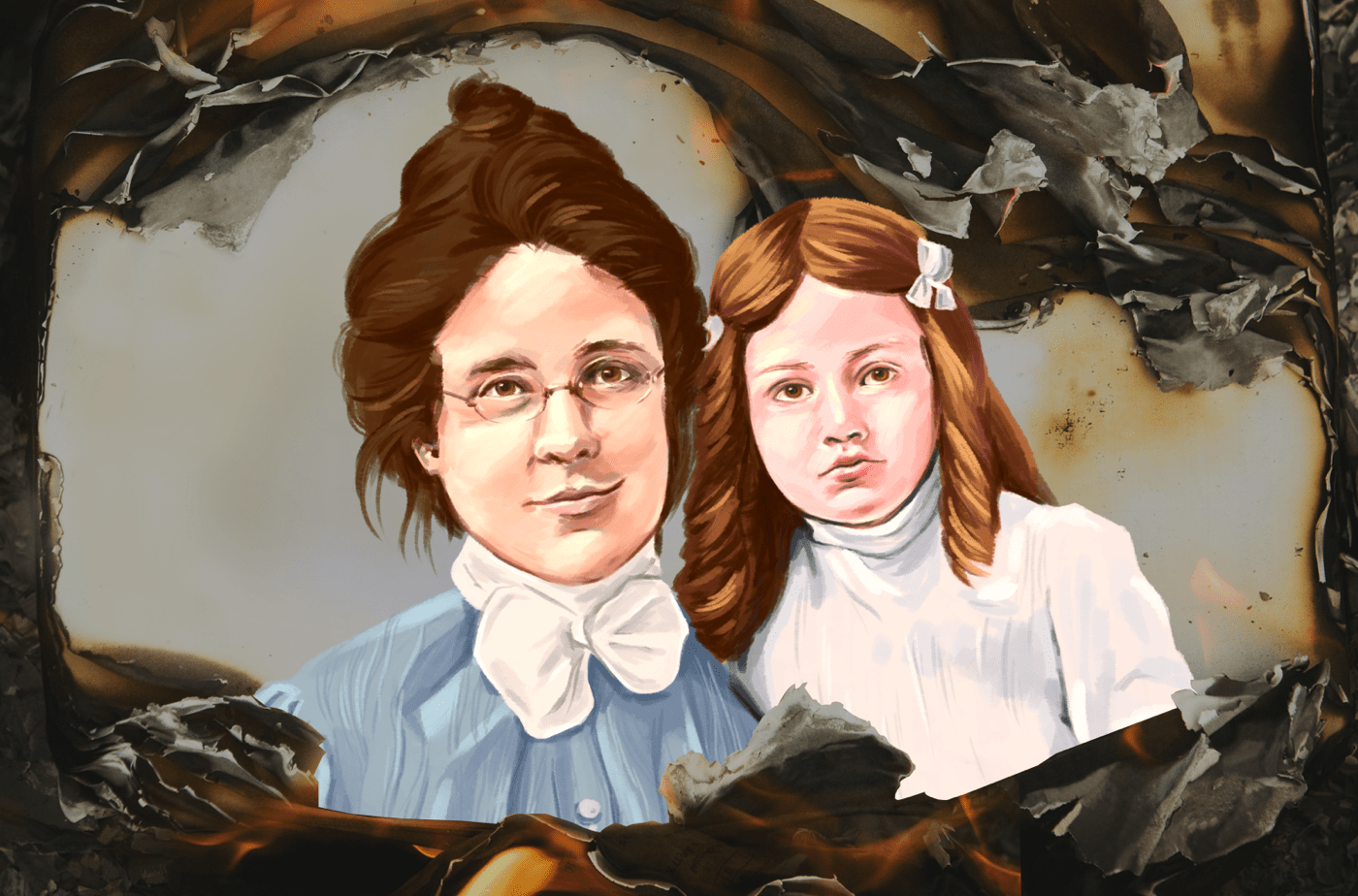 a collage of an illustration of a mother with glasses posing next to a young girl in a white dress and pigtails. they are both wearing clothes from the 19th century. The illustration is framed by a burned paper