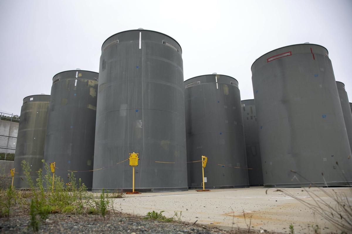 several large cylinder tanks