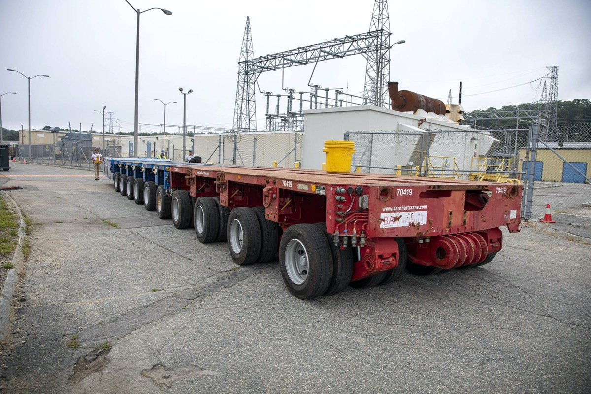 a truck flat bed in an industrial plant