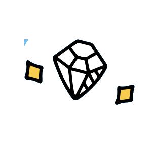 an illustration of a sparkling diamond