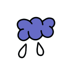 illustration of purple rain cloud with two droplets