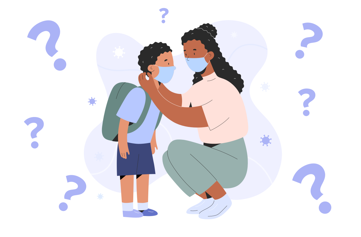 a black woman squats down to put a mask around her child, wearing a backpack. the woman is also wearing a mask. small germs and question marks float around both of them