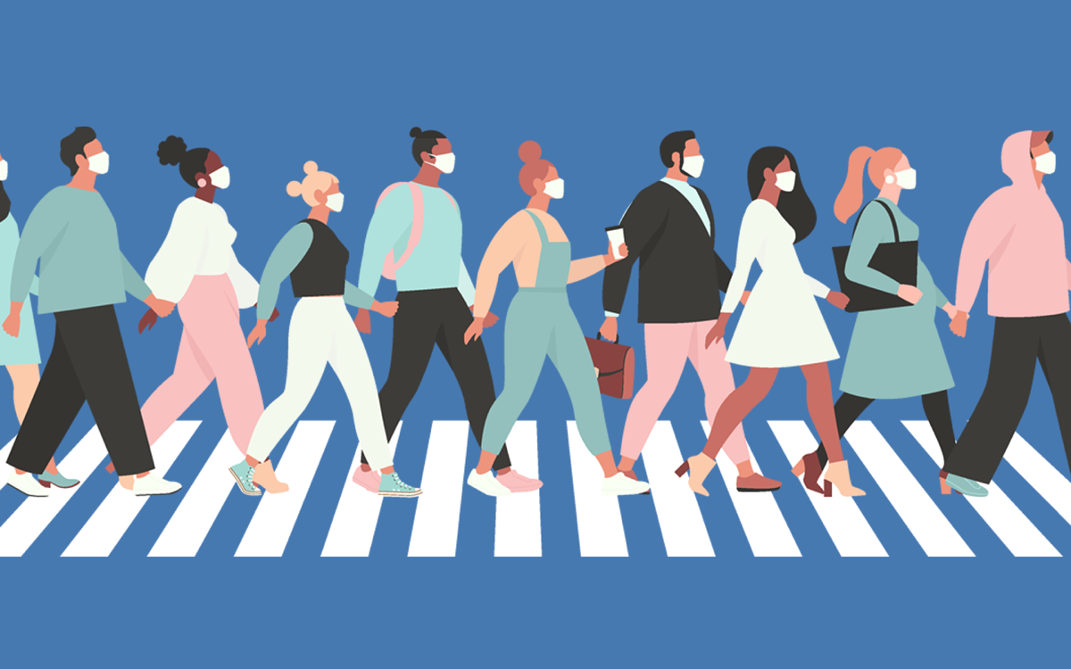 graphic illustration of people in white medical face mask walking down the street.