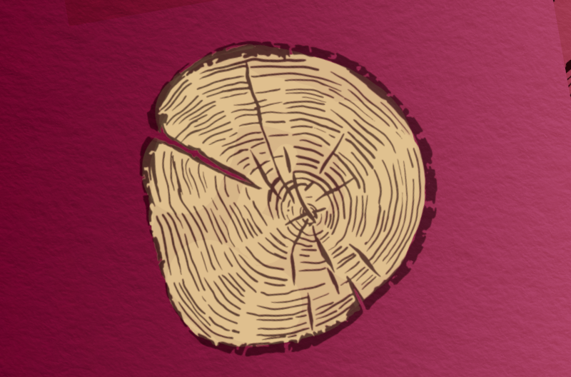 cartoonish slice of wood featuring tree rings against wine-colored and paper-textured background