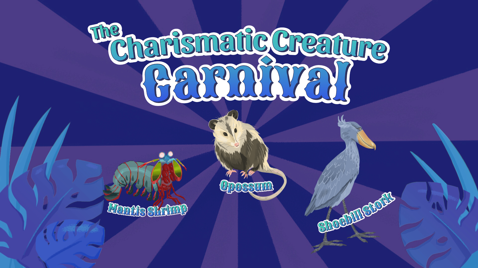 purple carnival-like swirls with cartoon images of an oppossum, a mantis shrimp, and a shoebill stork in the foreground
