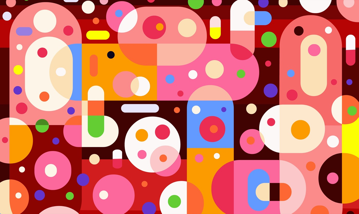 abstract colorful art of simplified pills in different colors and positions